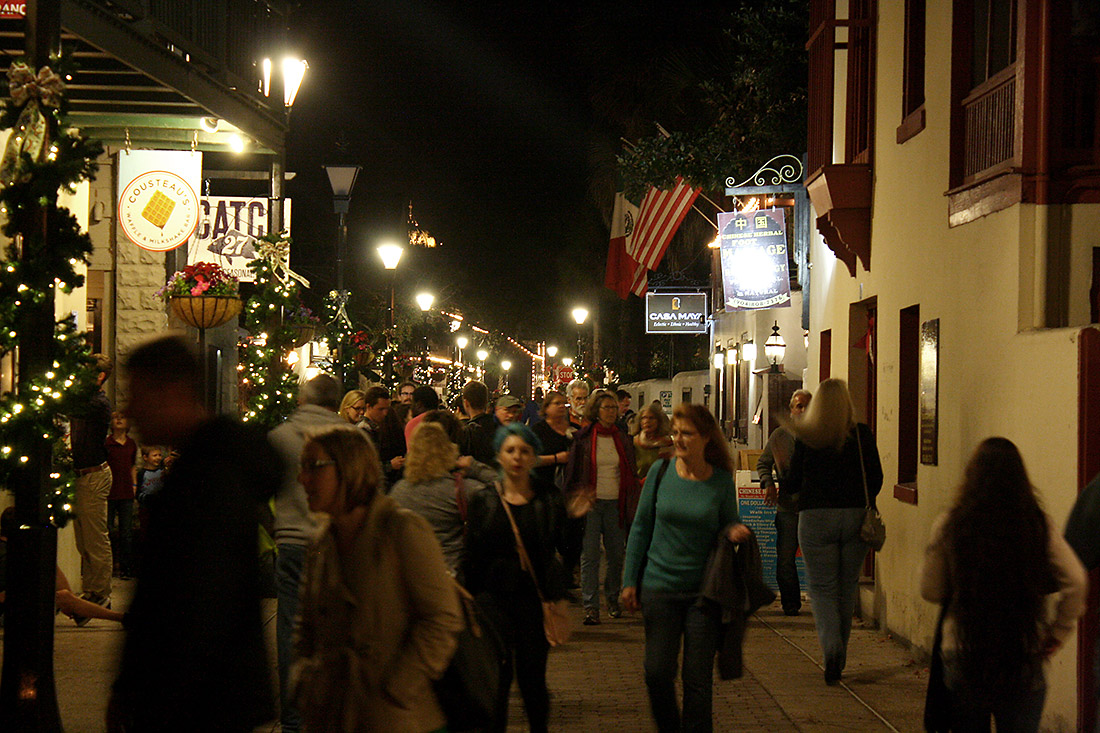 A photo of walking in Historic Downtown during the Nights of Lights holiday display.