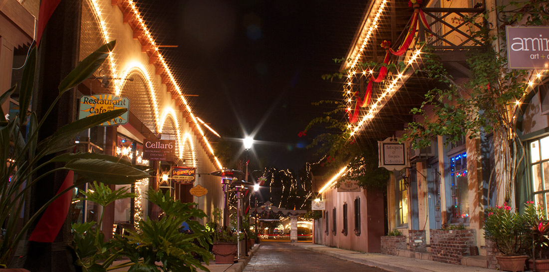 Aviles Street in Historic Downtown dressed in holiday decor for St. Augustine's Nights of Lights holiday display.