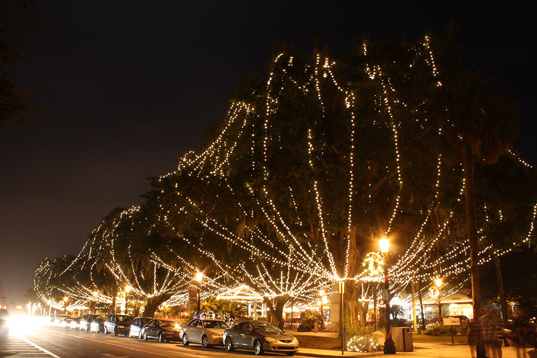 Giant oak trees in the Plaza de la Constitucion strung with lights for St. Augustine's Nights of Lights holiday display.