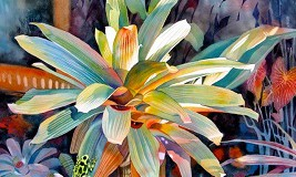 Danecke_BromeliadAndFrog_Watercolor