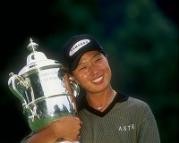 6 Jul 1998:  Se Ri Pak of South Korea holds trophy following the Women''s U. S. Open at the Blackwol Run Resort in Kohler, Wisconsin. Mandatory Credit: Craig Jones  /Allsport