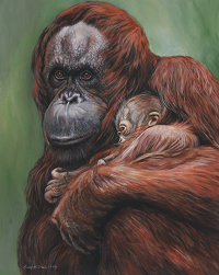 CindyBillingsley Orangutan and Baby / oils