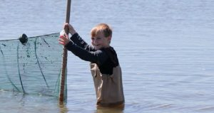 Image of young boy pulling seining net during Family Seining