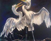 Two Egrets by Lorraine Millspaugh