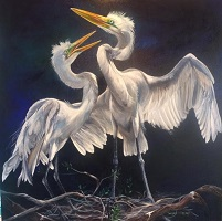 Two Egrets by Lorraine Millspaugh
