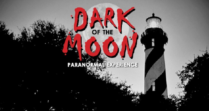 Black and white image of lighthouse tower with text in red, Dark of the Moon Tour
