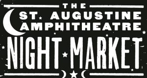 text in white on black background; The St. Augustine Amphitheatre Night Market