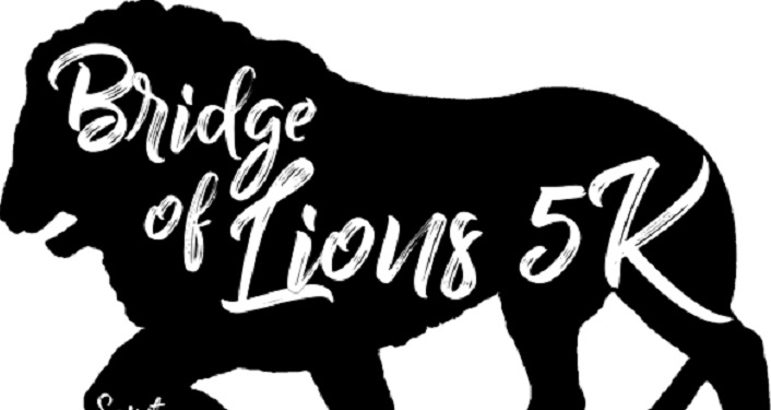 caricature side image of lion with Bridge of Lions 5K on body of lion.