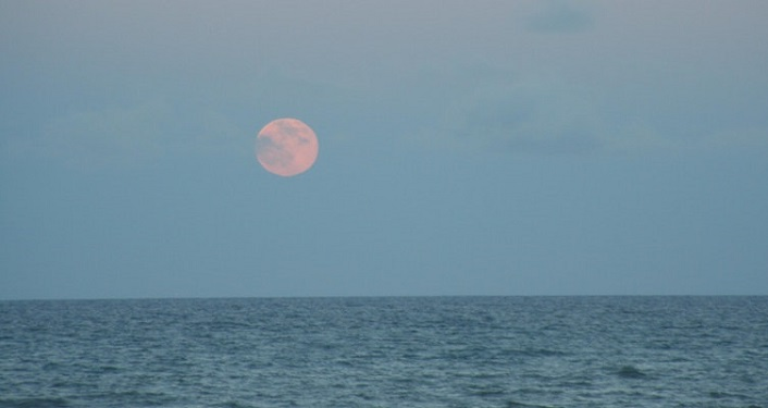 Watch the full moon rise at the beach