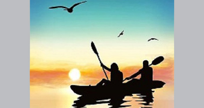 caricature - silhoutte of kayakers with sun in background.