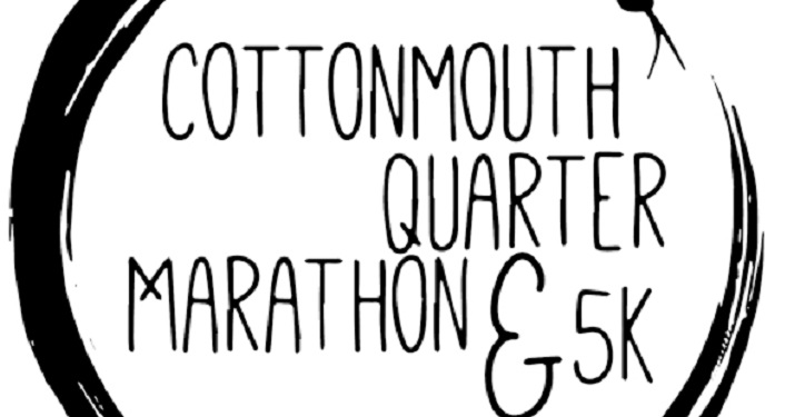 Logo depicting cottonmouth snake in a circle; inside of circle is text: Cottommouth Quarter Marathon & 5K