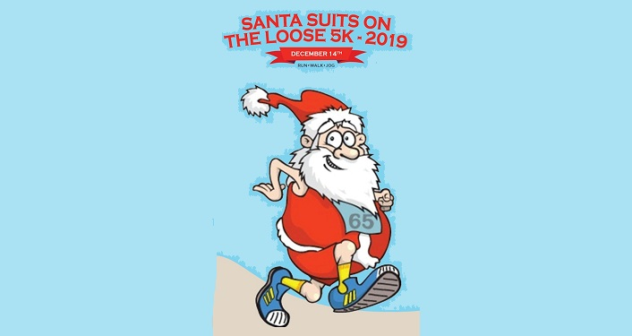 caricature image of Santa wearing sleeveless santa suit and shorts, running on beach for Santa Suits on the Loose 5K 2019