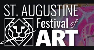 Black background with St. Augustine Festival of ART in white letters