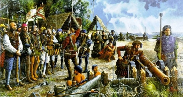 A painting of the First Muster, which were a parallel group to the National Guard of the United States in the 1500's.
