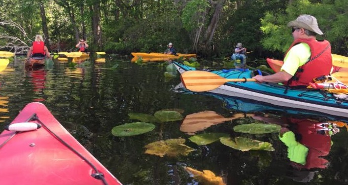 people learning to kayak