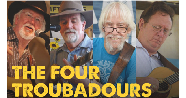 The Four Troubadours are well known solo performers: Larry Mangum, Bob Patterson, Jim Carrick, and Charley Simmons, who were actually friends with Gamble Rogers
