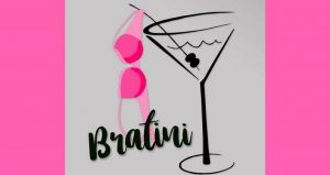 charicature of a martini glass with a hot pink bra draped on toothpick, words Bratini at bottom of image.