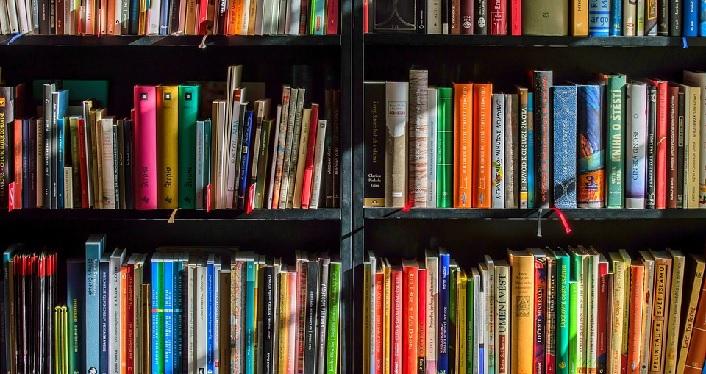 A photo of three shelves full of books.