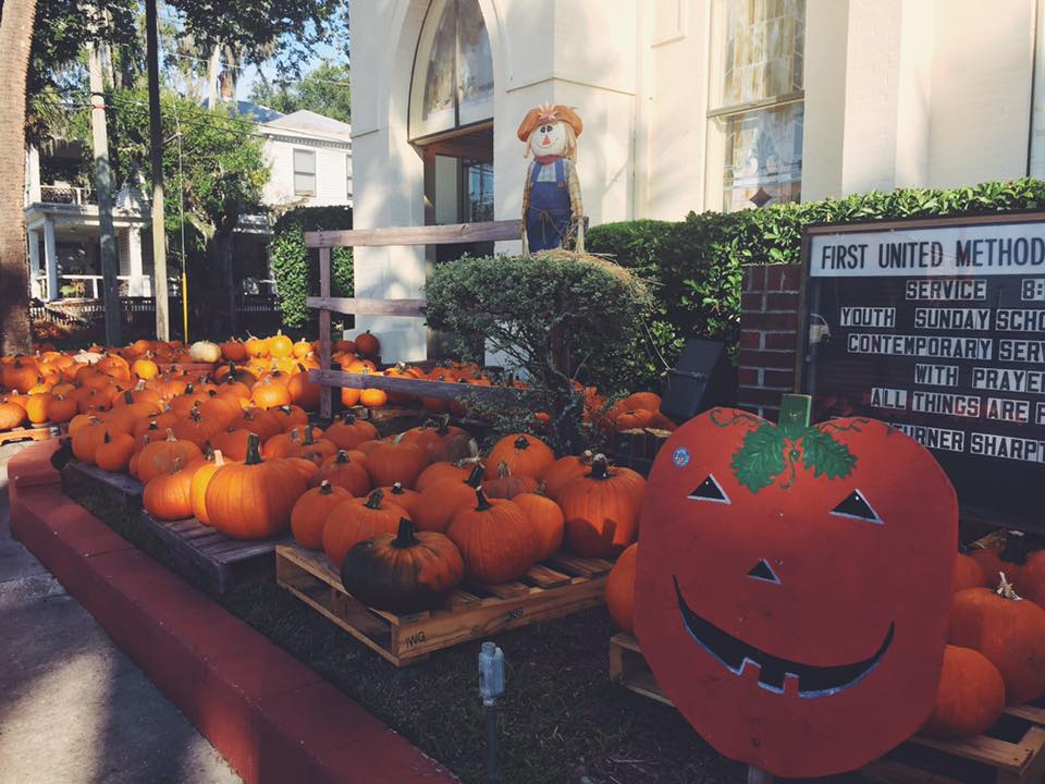 An image of pumpkins on the steps of First United Methodist Church.