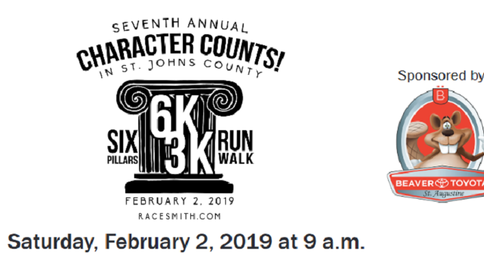 Mark your calendars for the 7th Annual Character Counts! in St. Johns Six Pillars 6K/3K Run/Walk