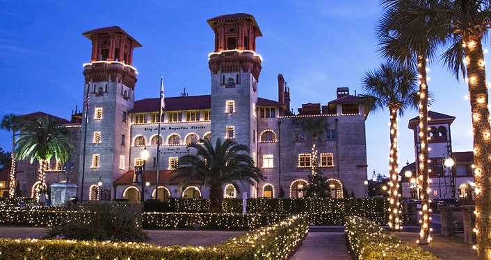 Enjoy the ambience of Lightner Museum decorated for Nights of Lights