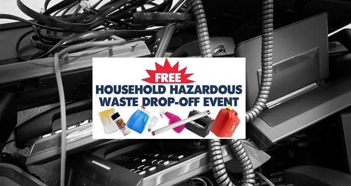 Words Free Household Hazardous Waste Drop-Off Event in bold with images of old phones, gas cans, fluorescent bulbs.