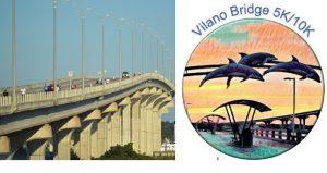 image of Vilano Bridge on left; on right cartoon imge of dolphin with text above Vilano Bridge 5K & 10K
