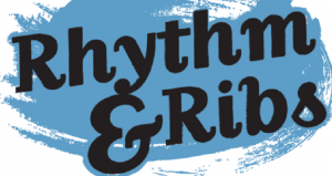 Text in black on dark turquiose background; Rhythm & Ribs