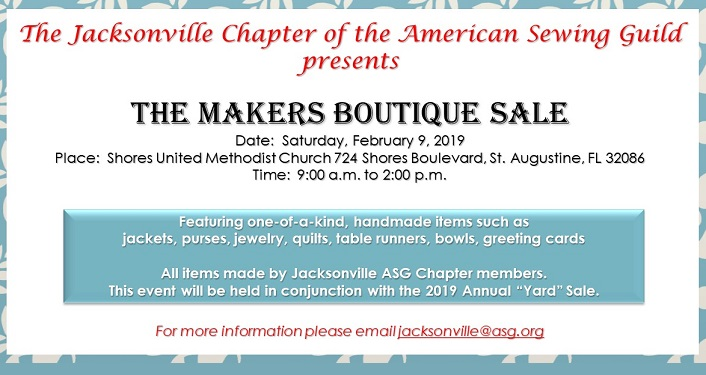 If you love crafts and sewing, come to the American Sewing Guild Yard Sale & Makers Boutique