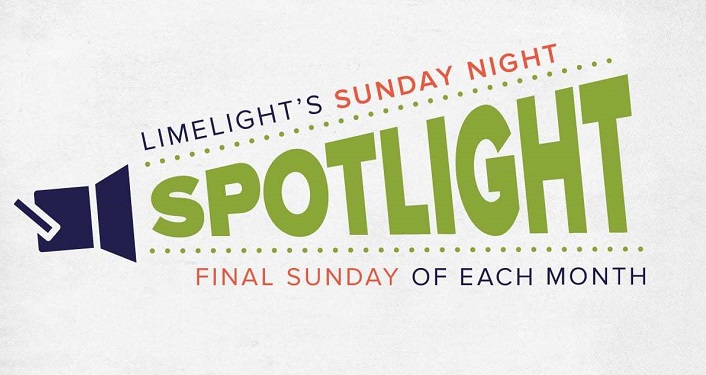 "caricature image of spotlight with the text Limelight's Sunday Night Spotlight in the ""cone"" of light"