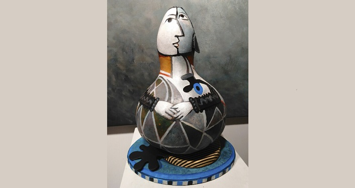 """""""Homage to Picasso"""" acrylic painted gourd by Jan Miller"""