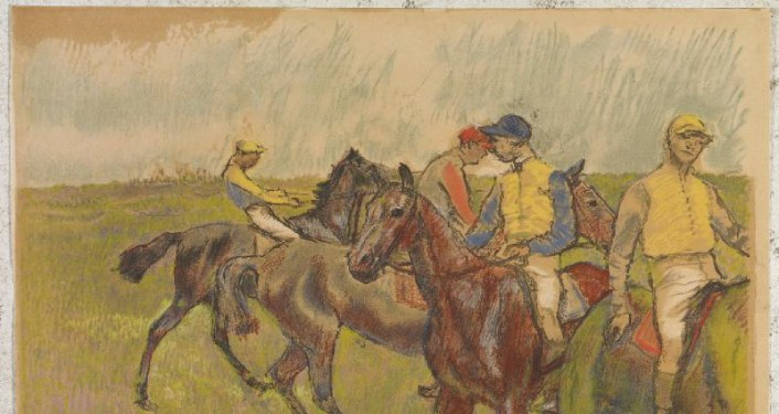 Artwork by Edgar Degas -- riders on horses
