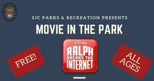 text Movie in the Park, Disney's Ralph Breaks The Internet on a computer screen