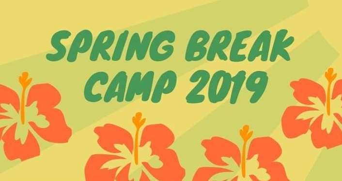 Words Spring Break Camp 2019 in dark green