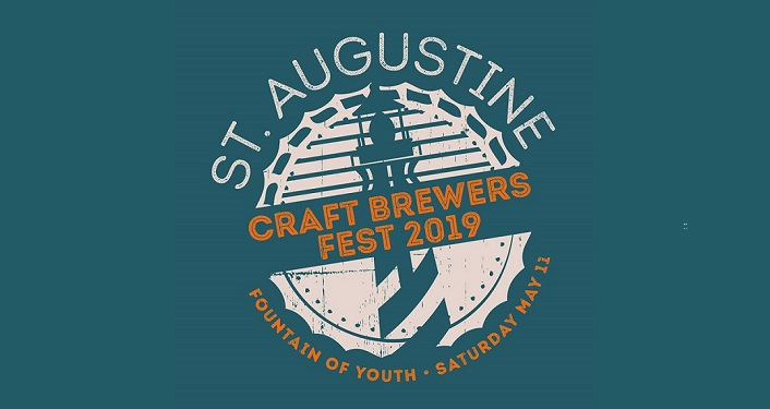 turguoise background with text in whtie and orange...St. Augustine Craft Brewers Fest 2019