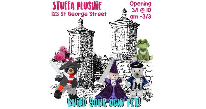 text in pink Stuffa Plushie Grand Opening, cartoonist bears dressed in costumes