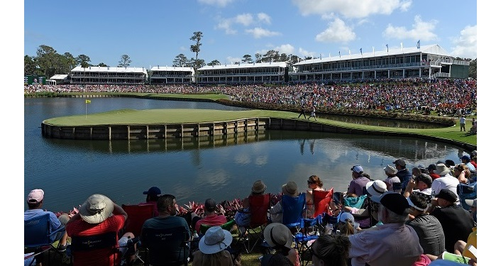 17th hole of THE PLAYERS Championship; fans in the stands watching