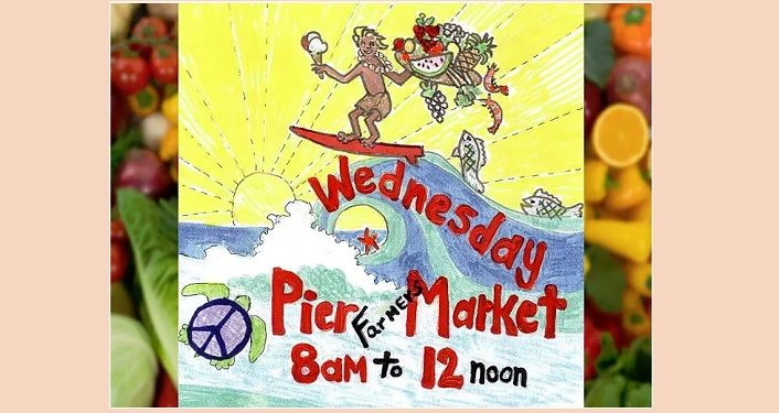 caricature image of man riding a wave carrying fruits and veggies; text Wednesday Pier Farmers Market 8am to 12 noon