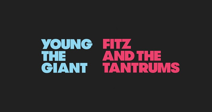turquiose text Young The Giant and hot pink text Fitz and the Tantrums on a black background