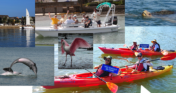 collage of images with people kayaking, on boating excursion with Eco Tours
