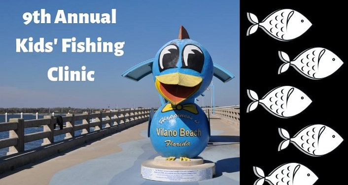 "Text ""9th Annual Kids' Fishing Clinic"" over image of a fishing pier"