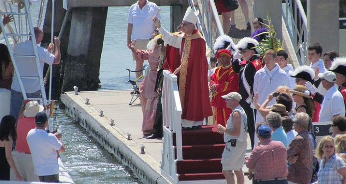 Boat being blessed during Blessing of the Fleet
