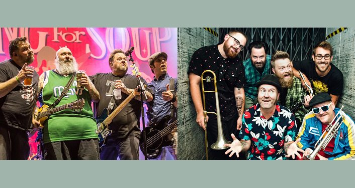 Images of two bands; Pop-punk band Bowling For Soup and ska-punk heroes Reel Big Fish