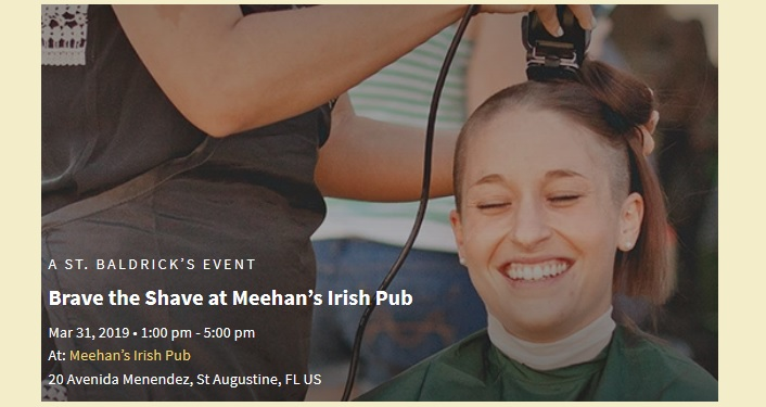 Image of young person getting head shaved; fundraiser at Meehan's Irish Pub