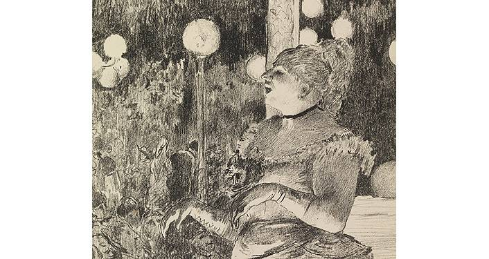 painting by Edgar Degas titled Chanteuse. Shades of black, grey with woman in 1800s dress