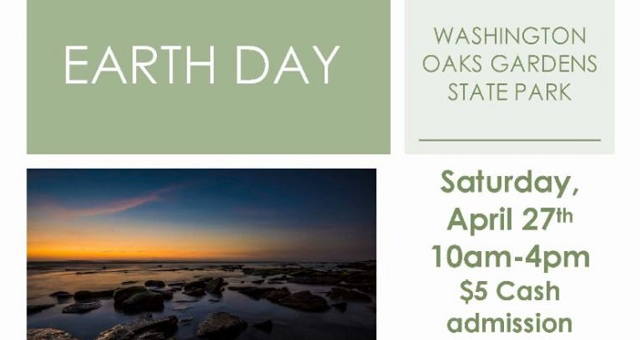 Text Earth Day Washington Oaks with image of sunrise