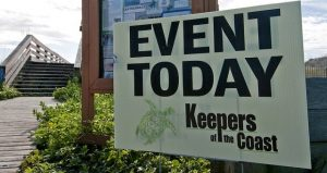sign with Event Today Keepers of the Coast and an image of a turtle