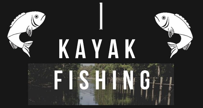 Black background, Kayak Fishing text in white with image of fish in white, one top left corner, the other top right corner