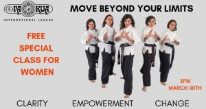 5 women in martial arts stance