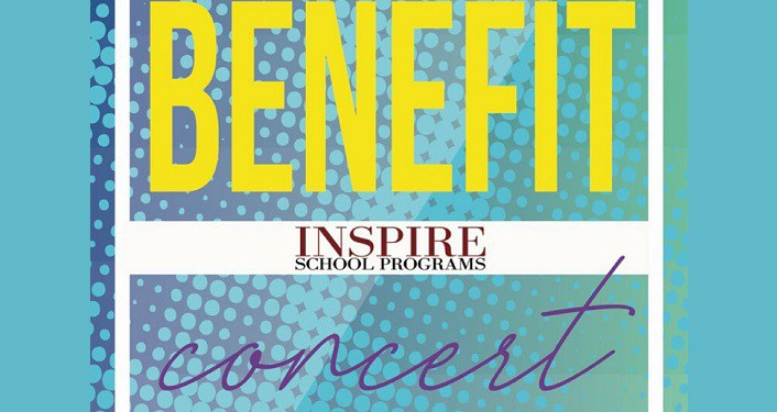 turquoise background with text Benefit Inspire School Programs Concert
